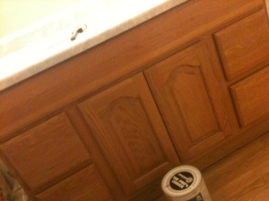 How to paint bathroom vanity cupboard. { DIY for low cost.}