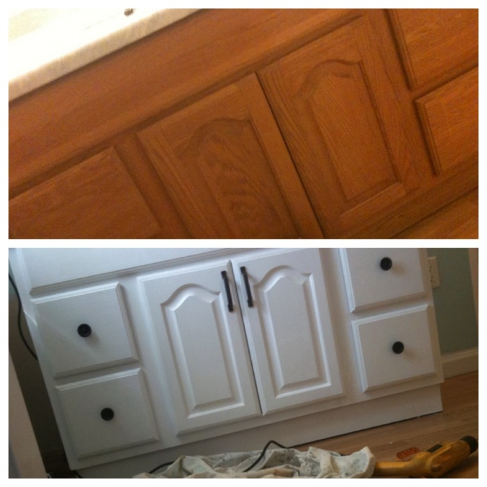 how to paint bathroom vanity cupboard diy for low cost the pink