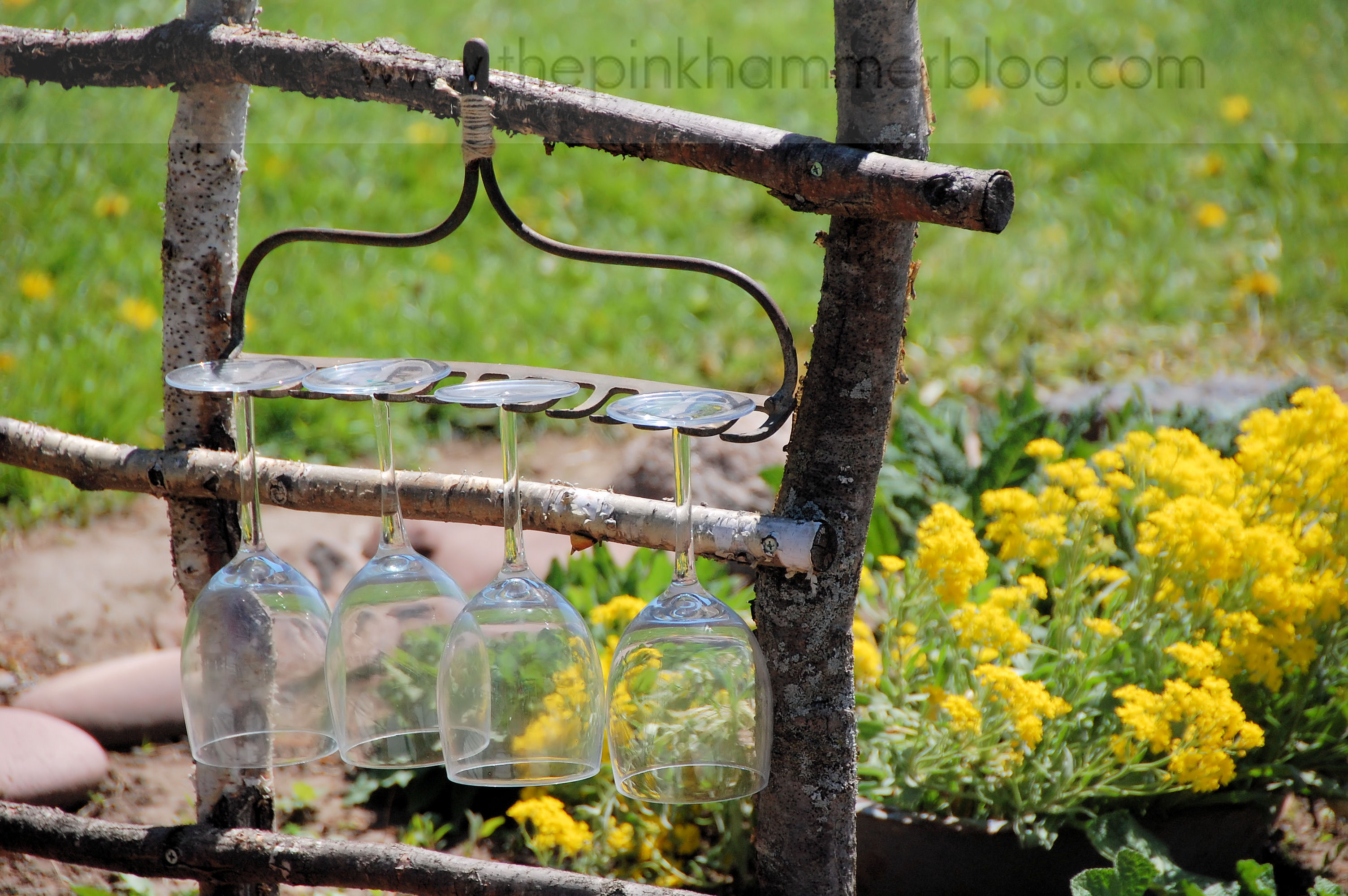 Metal Wine Glass Holder: From Broken Rake To Rustic Wine Glass Holder