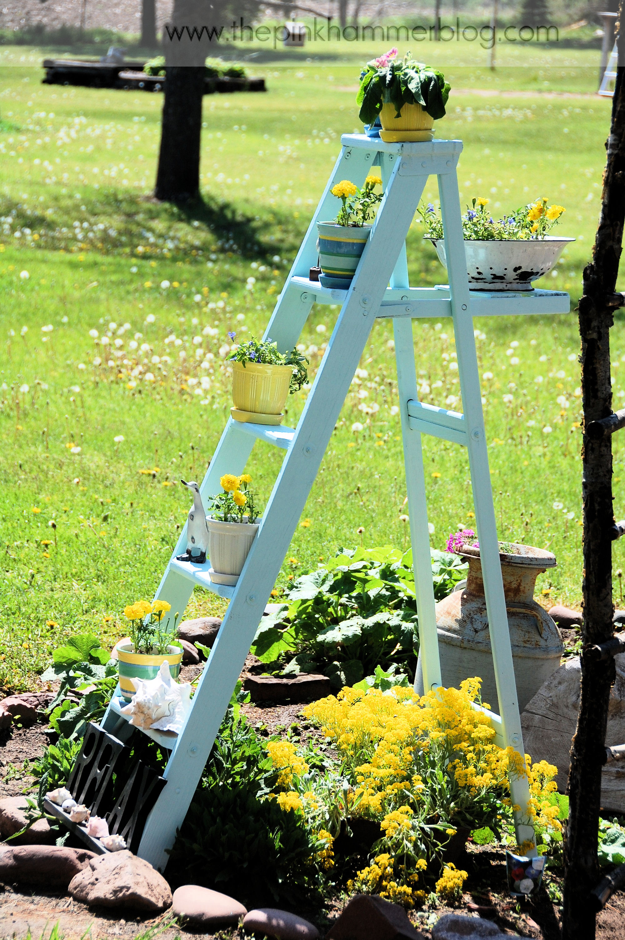 How to turn an old ladder into a beautiful plant stand simple garden diy the pink hammer blog - Ladder plant stand plans free ...