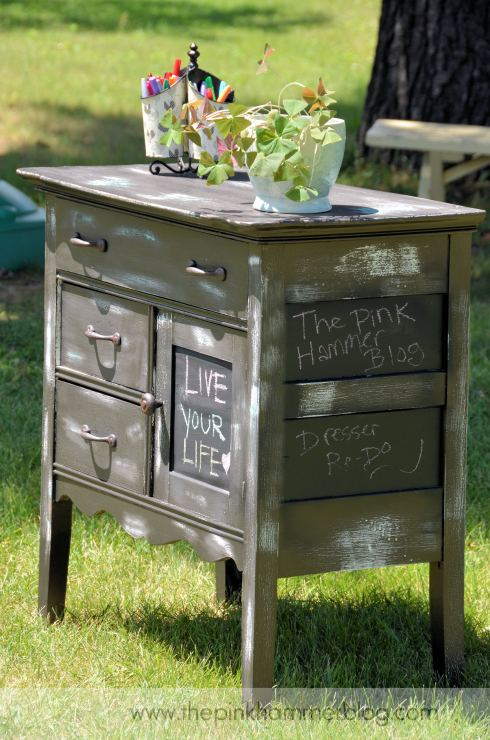 Distressed office dresser redo by The Pink Hammer blog