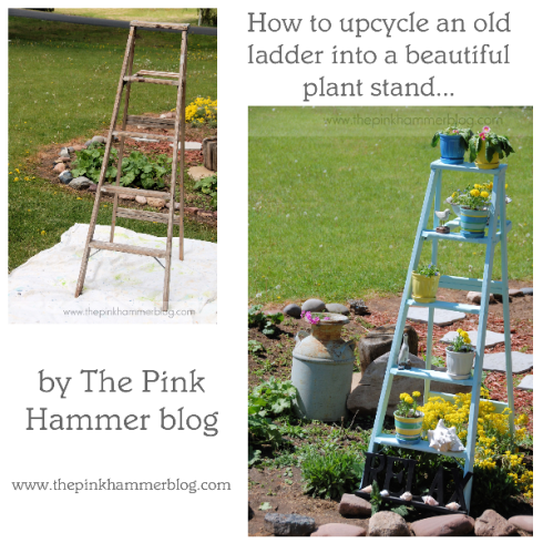 Ladder plant stand by The Pink Hammer blog