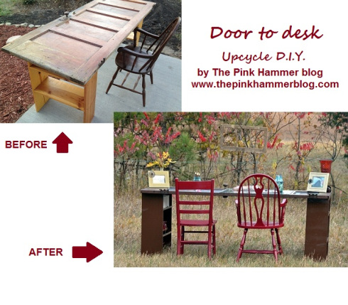 Door desk by The Pink Hammer blog