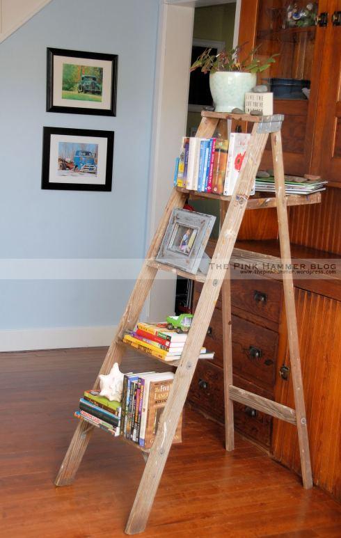 Ladder bookshelf by The Pink Hammer blog