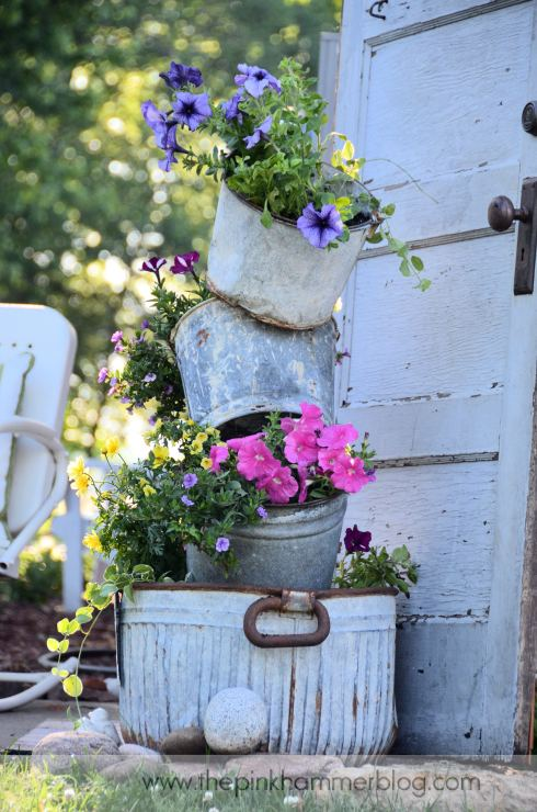 Tipsy Pot planters by The Pink Hammer blog