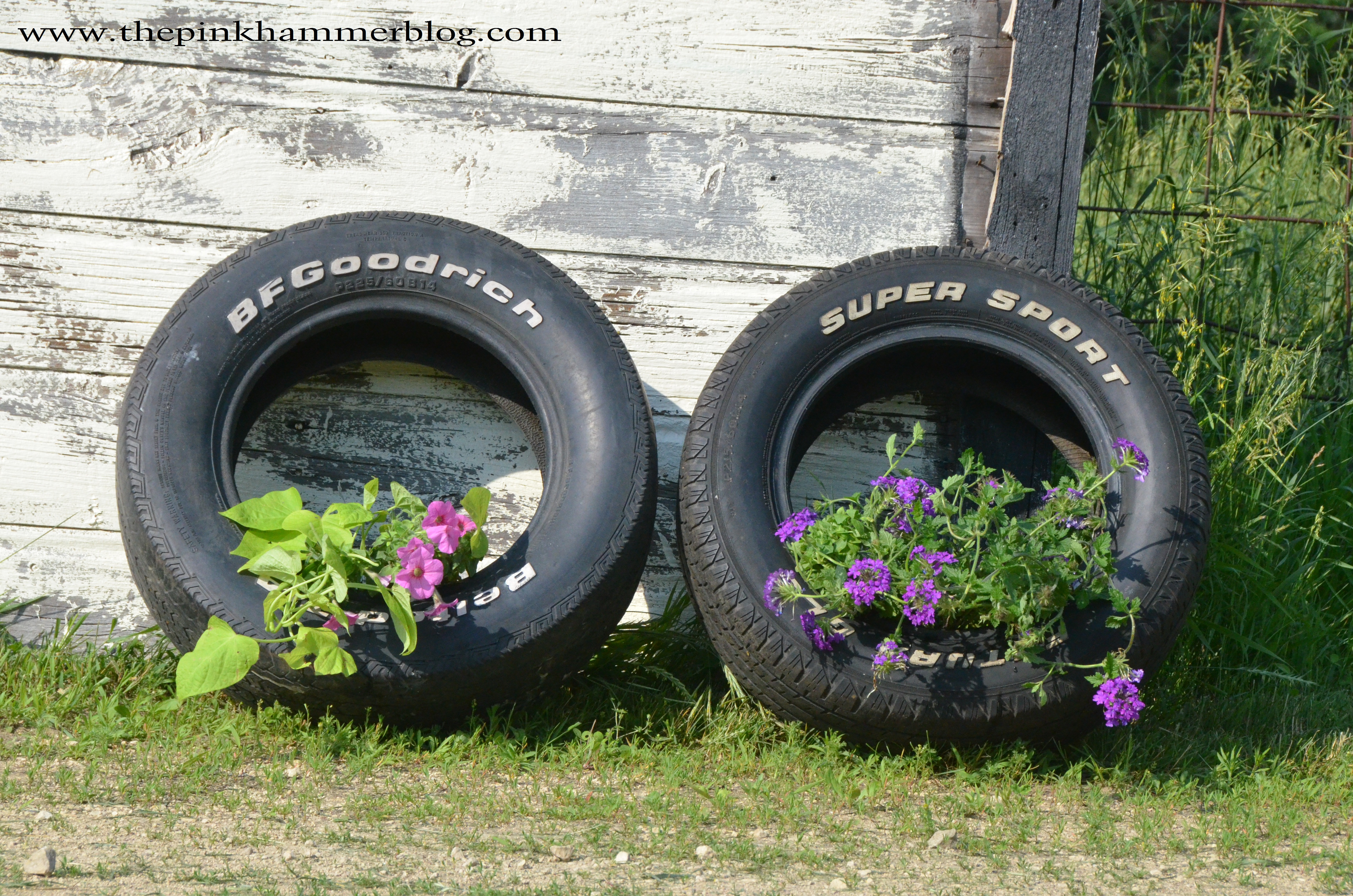 How to make tire planters the pink hammer blog for How to make a tire garden
