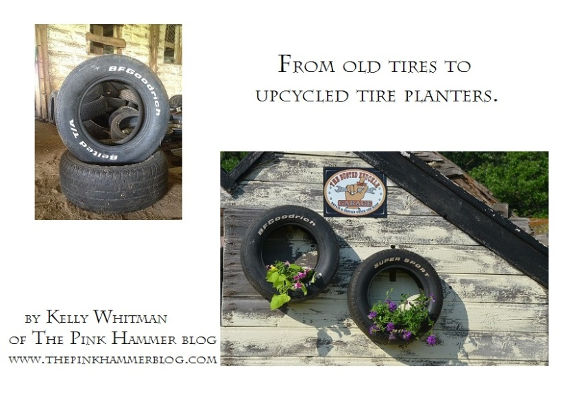 DIY Tire planters by Kelly Whitman of The Pink Hammer blog. Visit the blog for full step by step tutorial and quality images.   http://www.thepinkhammerblog.com